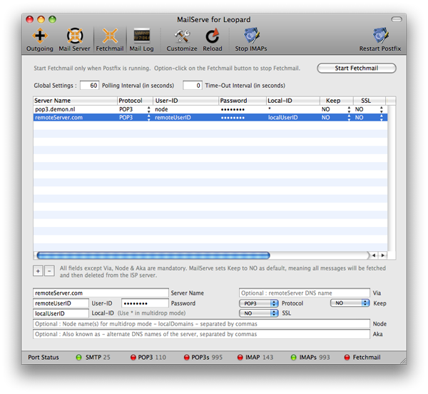 With click on save  restart fetchmail the whole configuration will be saved and fetchmail will be